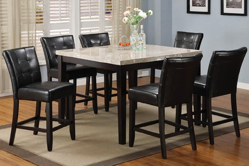 Counter height dining table set with leaf