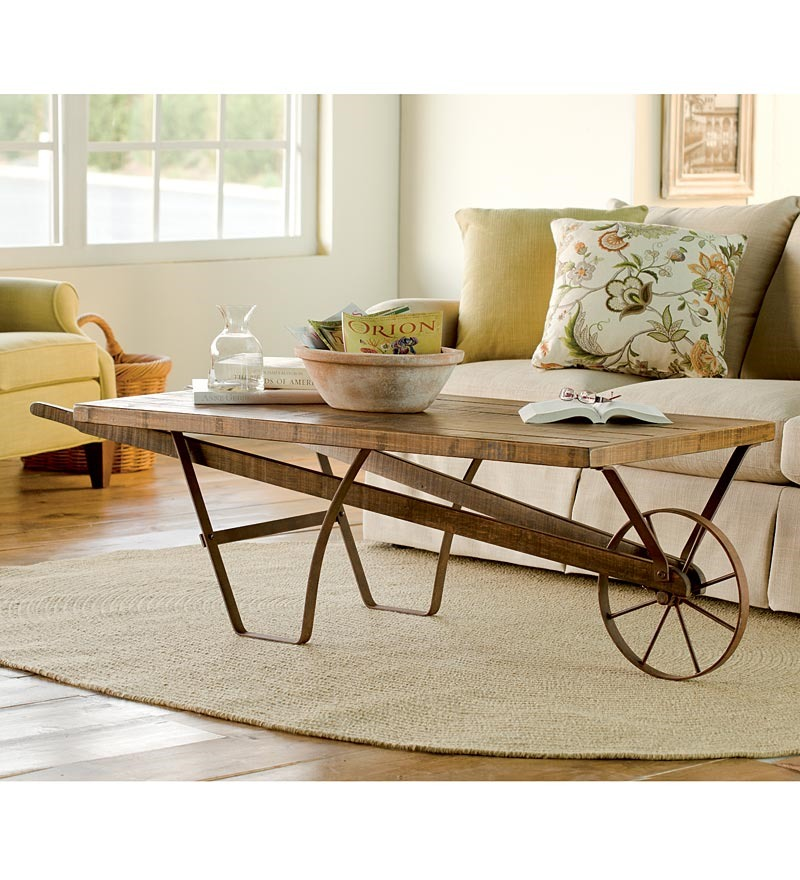 Image of: Distressed Wood Coffee Table Set