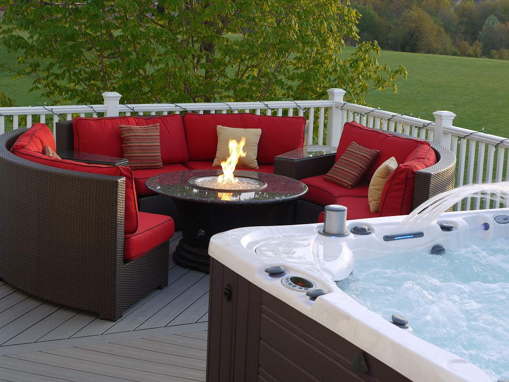 Image of: Elegant Firepit Patio Table