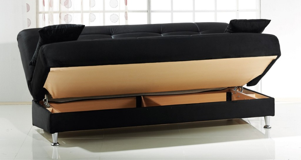 Image of: Futon Sofa With Storage In Bed