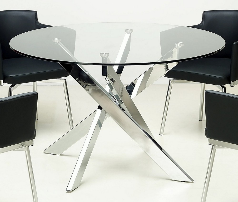 Image of: Glass Bistro Table Metal Chrome