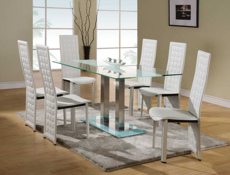 Picture of: Glass dining room table sets 6 chairs