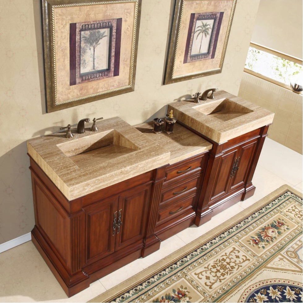 Image of: Granite Double Sink Vanity Top