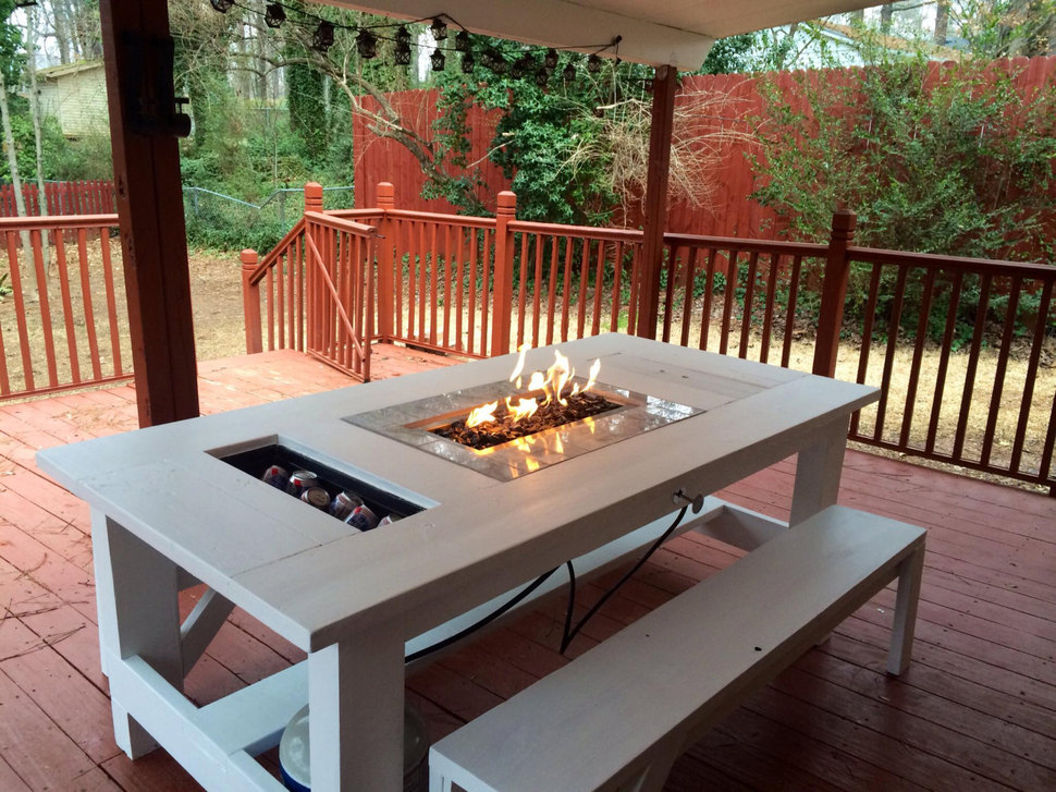 Image of: Iron Firepit Patio Table