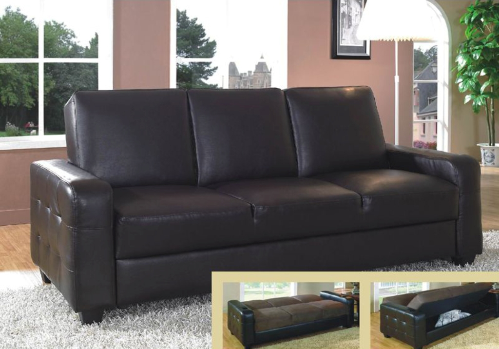 Picture of: Leather Futon Sofa Bed With Storage
