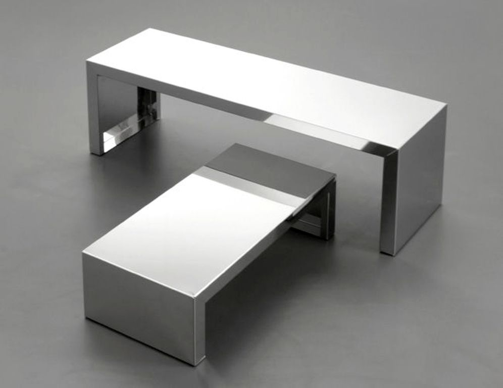 Picture of: leather and stainless steel coffee table