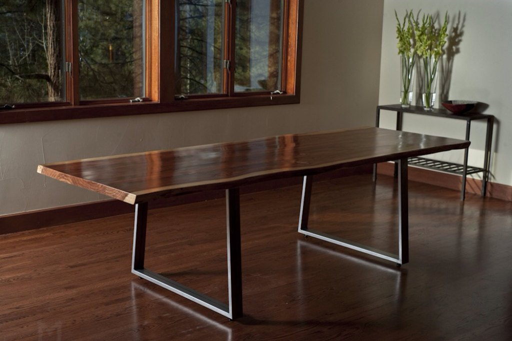 Image of: Live Edge Dining Table Height