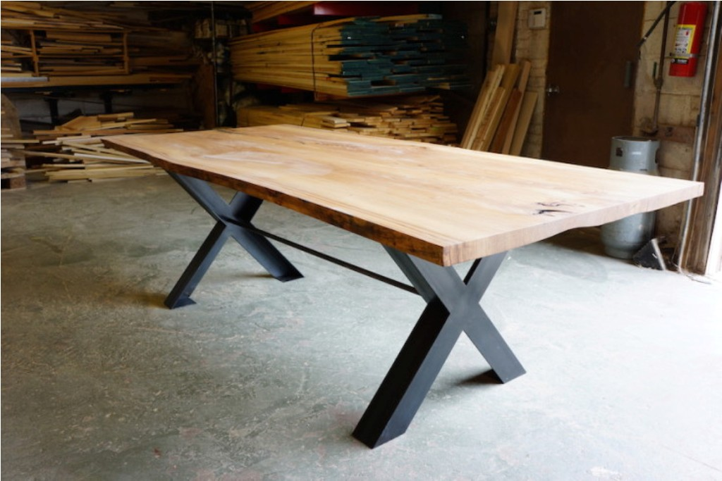 Image of: Live Edge Dining Table with Bench