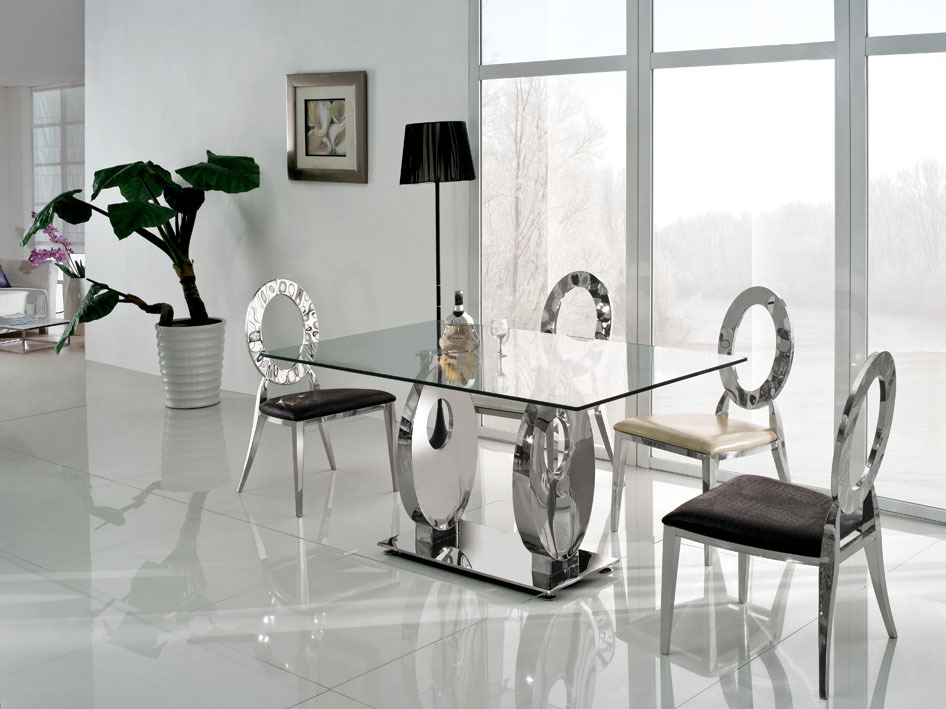 Picture of: Luxury glass dining room table sets