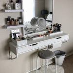 Makeup Vanity Table With Lighted Mirror Wall