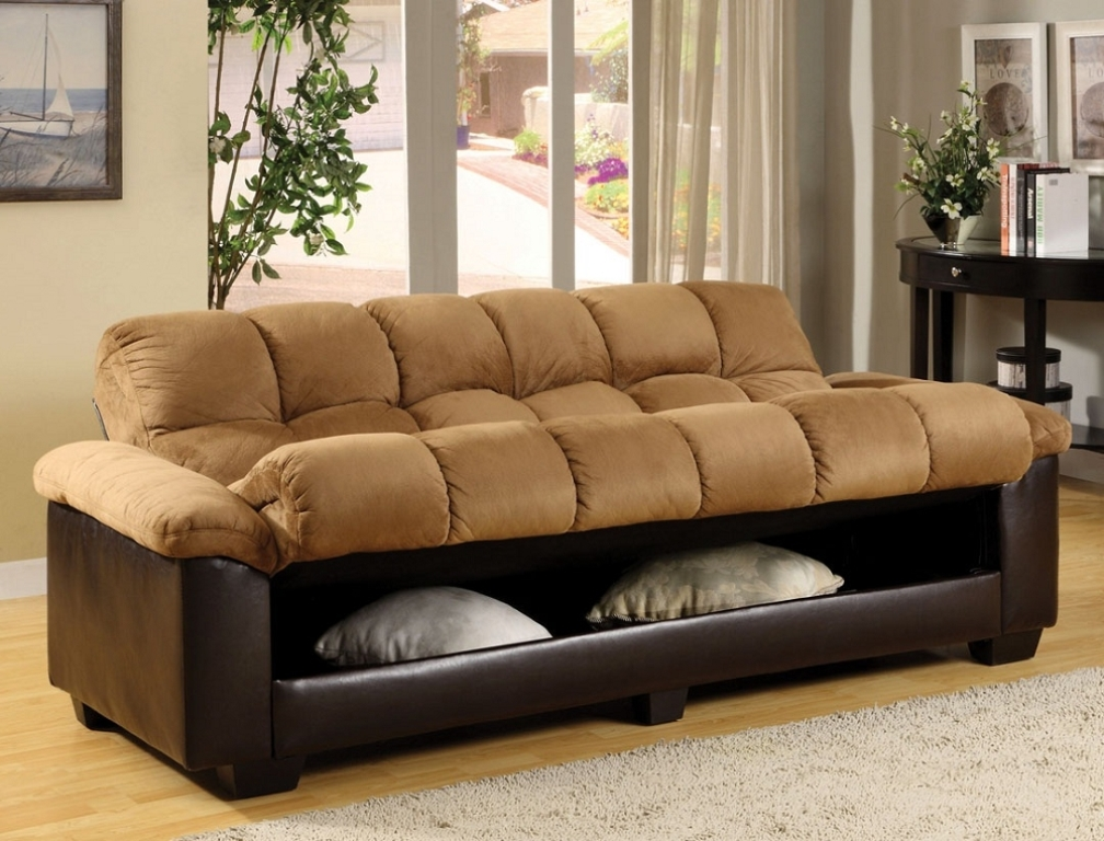 Image of: Microfiber Futon Sofa Bed With Storage