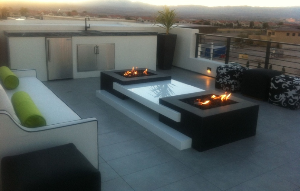 Picture of: Modern Firepit Patio Table