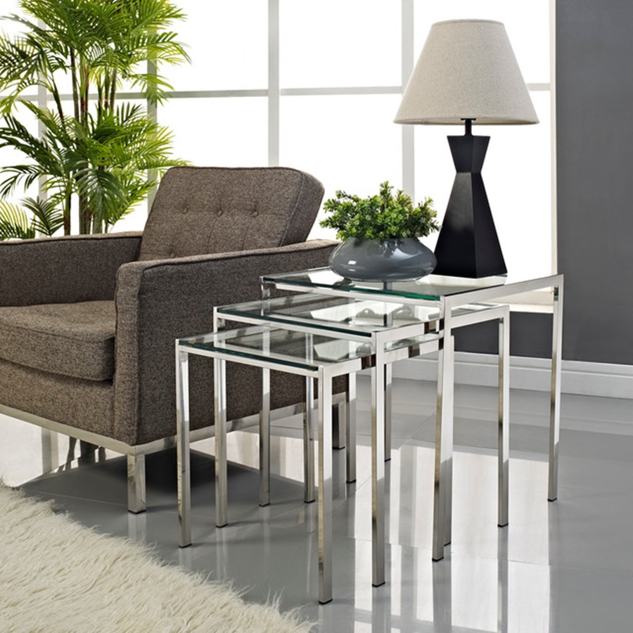 Picture of: Modern Glass Nesting Table