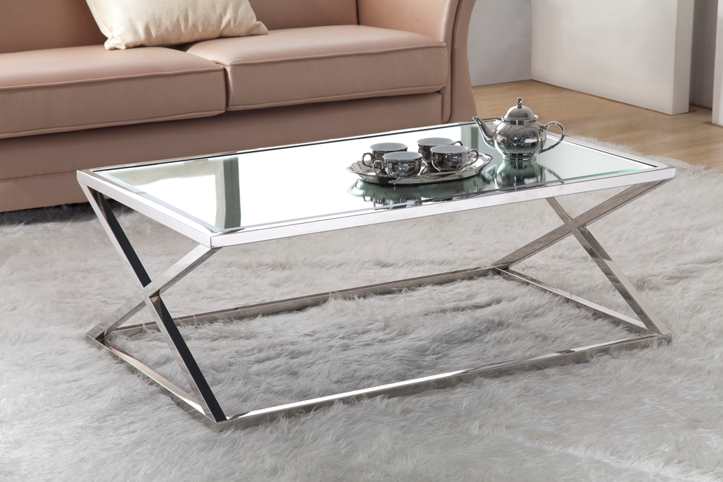 Picture of: modern stainless steel coffee table