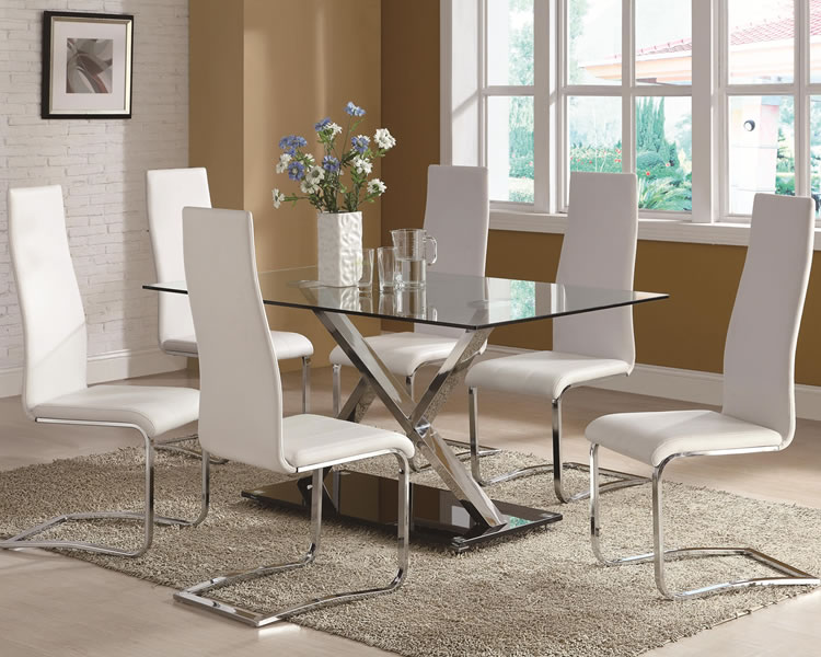 Picture of: Modern glass dining room table sets