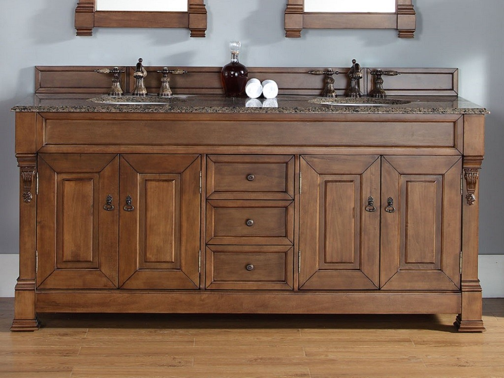 Image of: Oak 72 Bathroom Vanity Double Sink