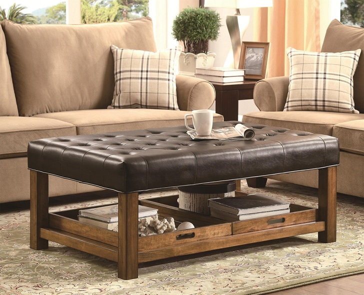 Picture of: Ottomans Coffee Table with Glass
