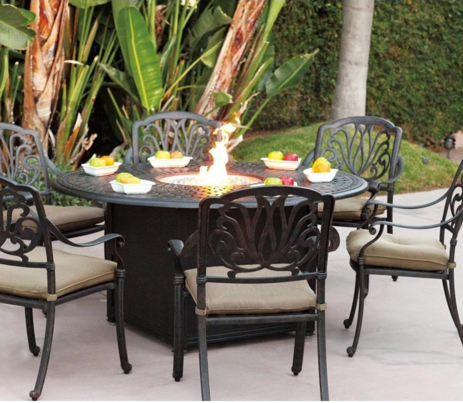 Image of: Outdoor Firepit Patio Table