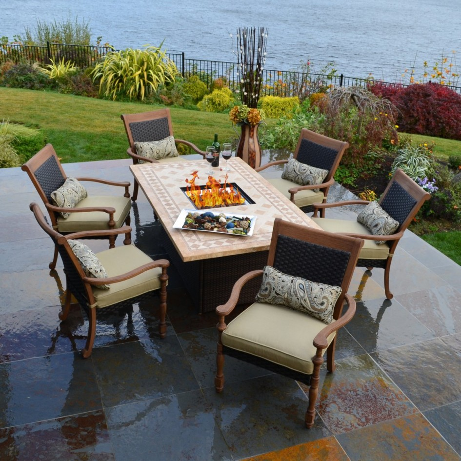 Image of: Outdoor Patio Dining Table with Firepit
