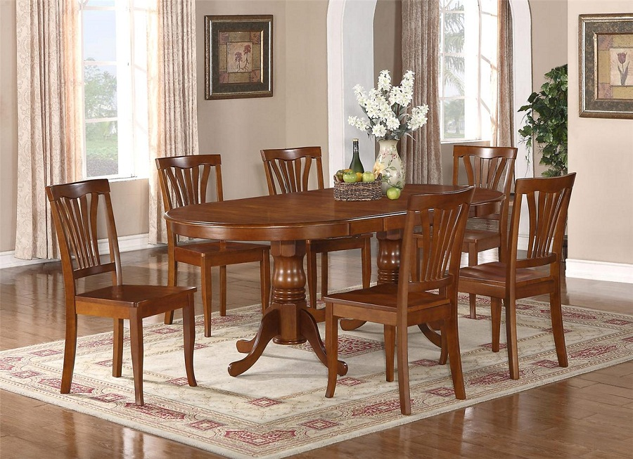Oval Dining Table with Leaf Designs