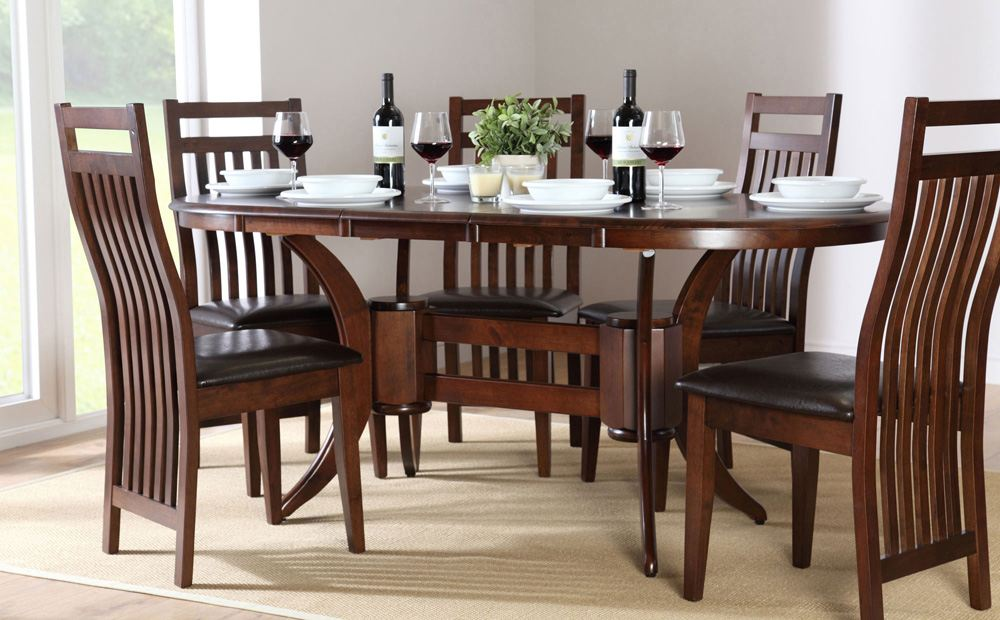 Image of: Oval Dining Table with Leaf and Chairs