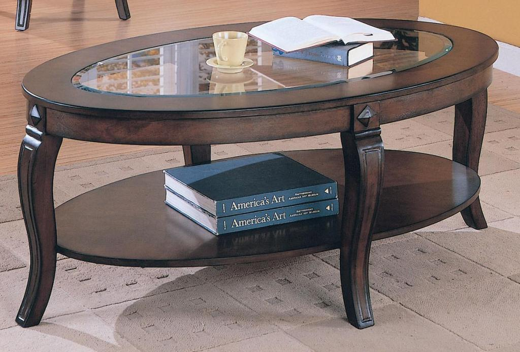 Image of: Oval Glass Coffee Table Image