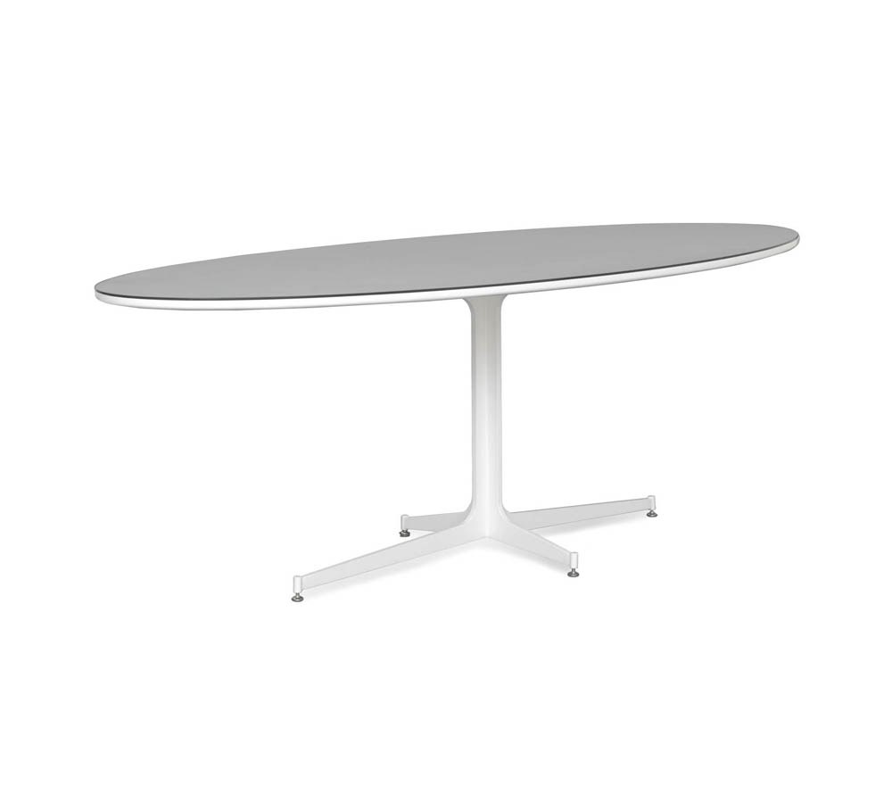 Picture of: Oval White Pedestal Dining Table
