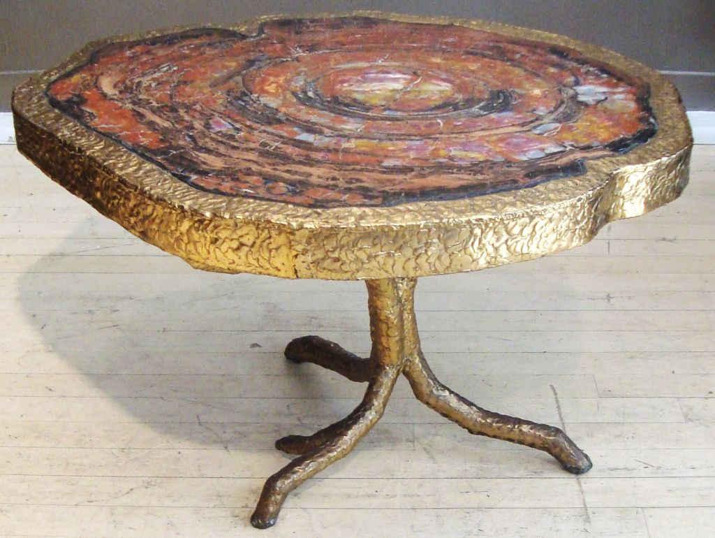 Image of: Petrified Wood Side Table Gold