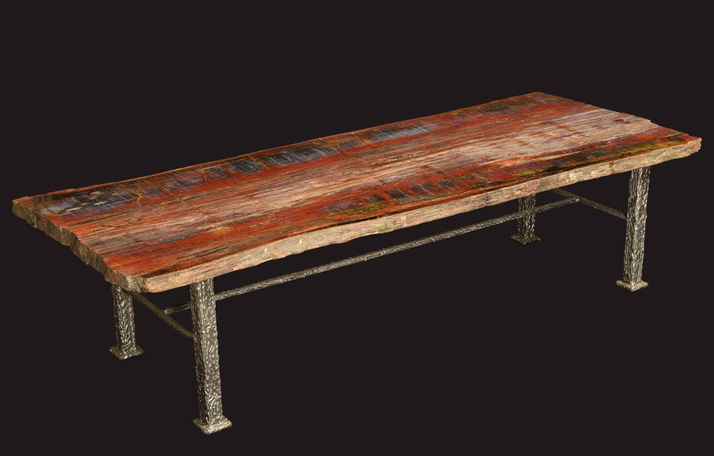 Image of: Petrified Wood Side Table Iron