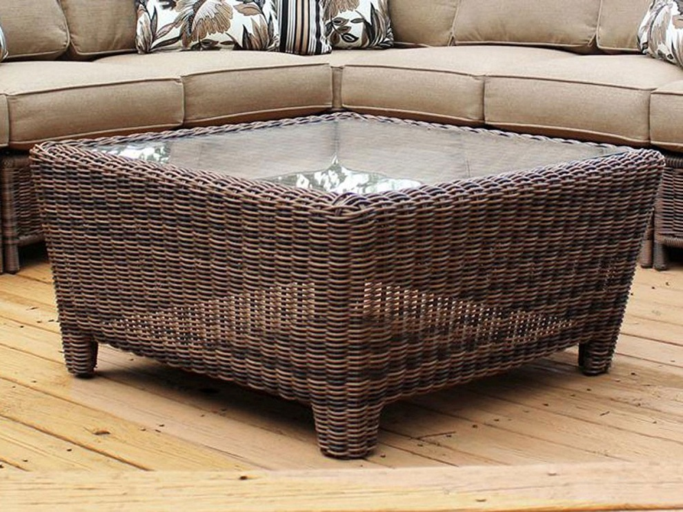 Image of: Rattan Coffee Table Glass Top