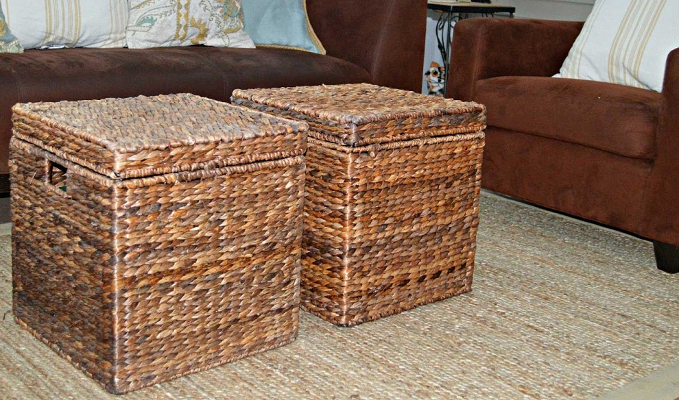 Image of: Rattan Coffee Table Shelves