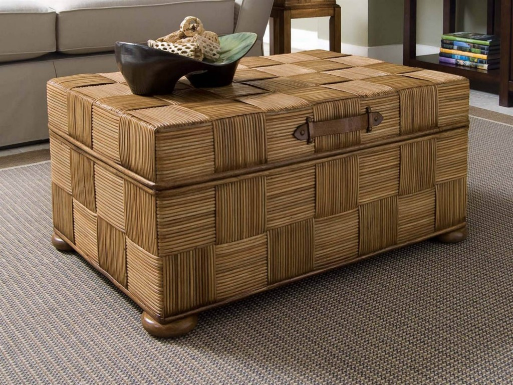 Image of: Rattan Coffee Table Storage