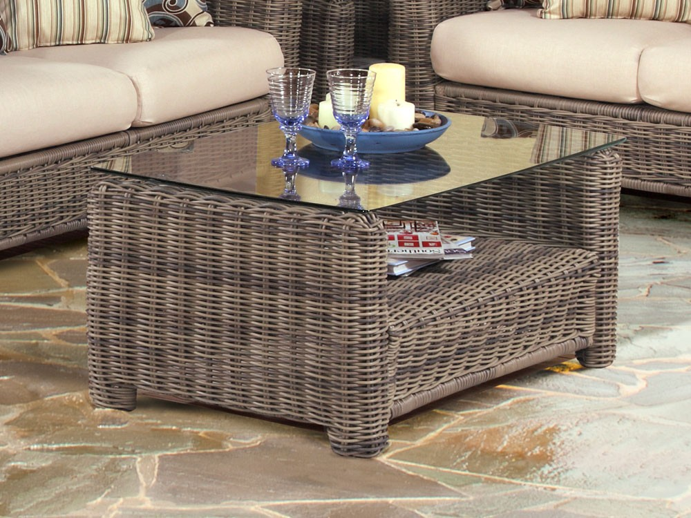 Picture of: Rattan Coffee Table with Glass Top