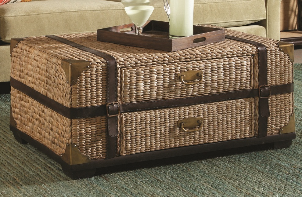 Image of: Rattan Coffee Table with Tray