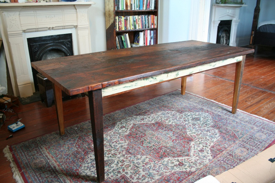 Picture of: reclaimed wood farm table long