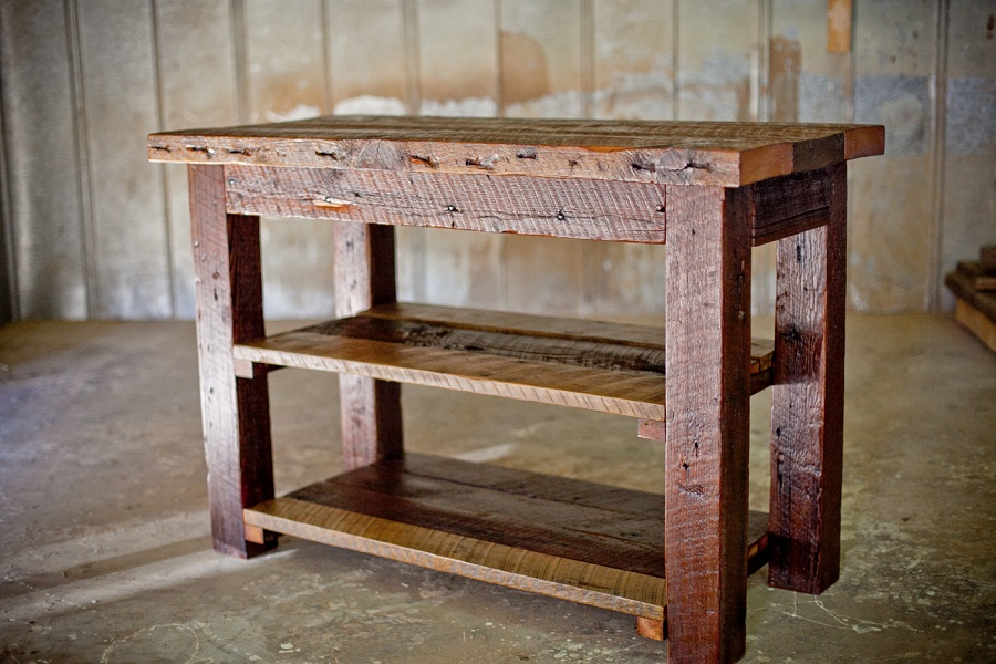 Picture of: reclaimed wood farm table shelving