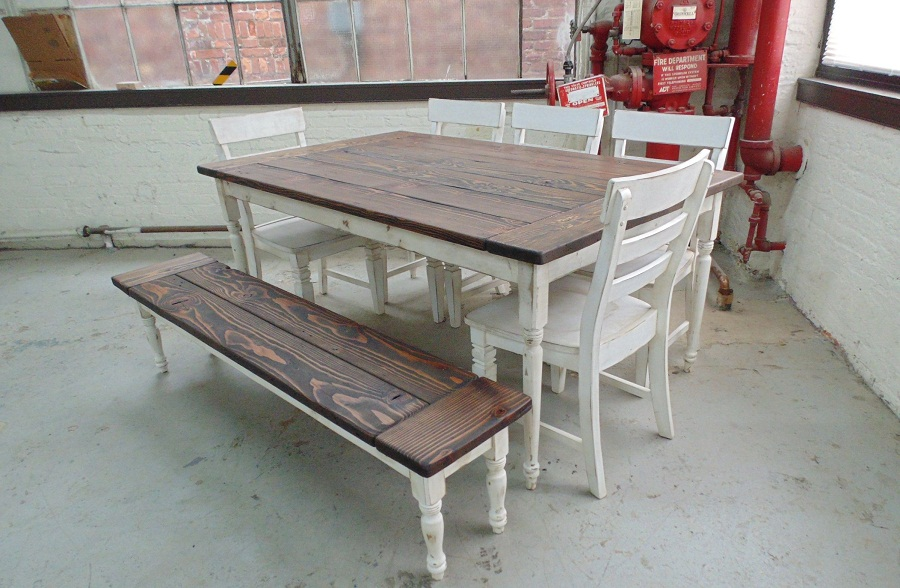 Picture of: reclaimed wood farm table white