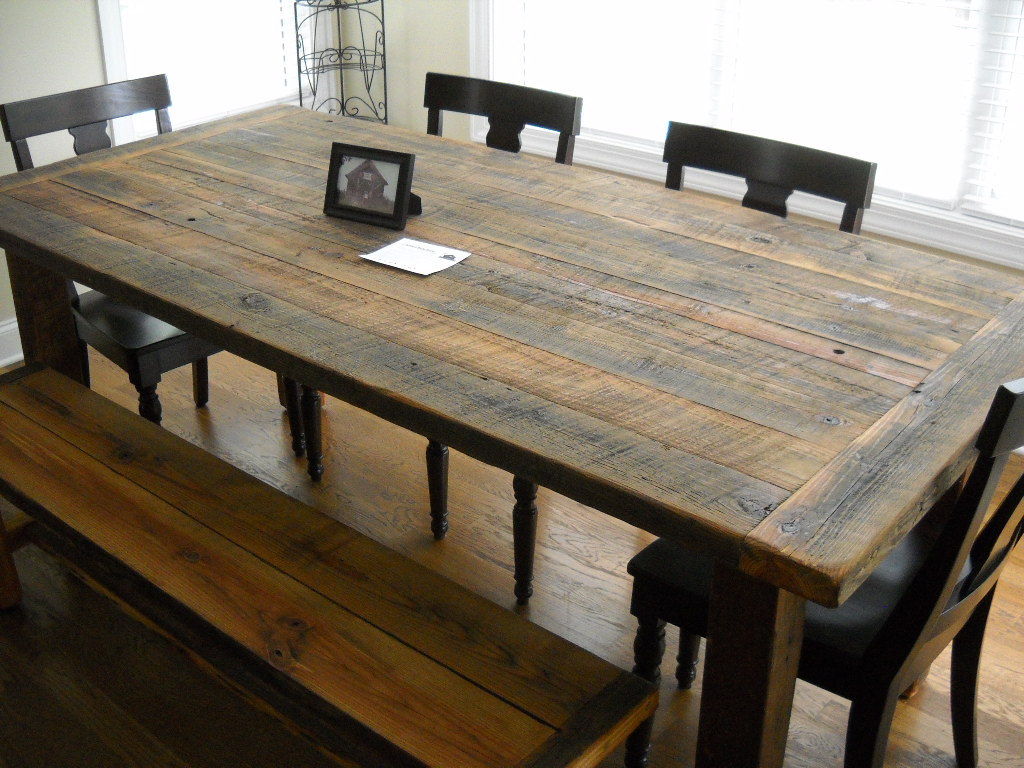 Picture of: reclaimed wood farm table and bench
