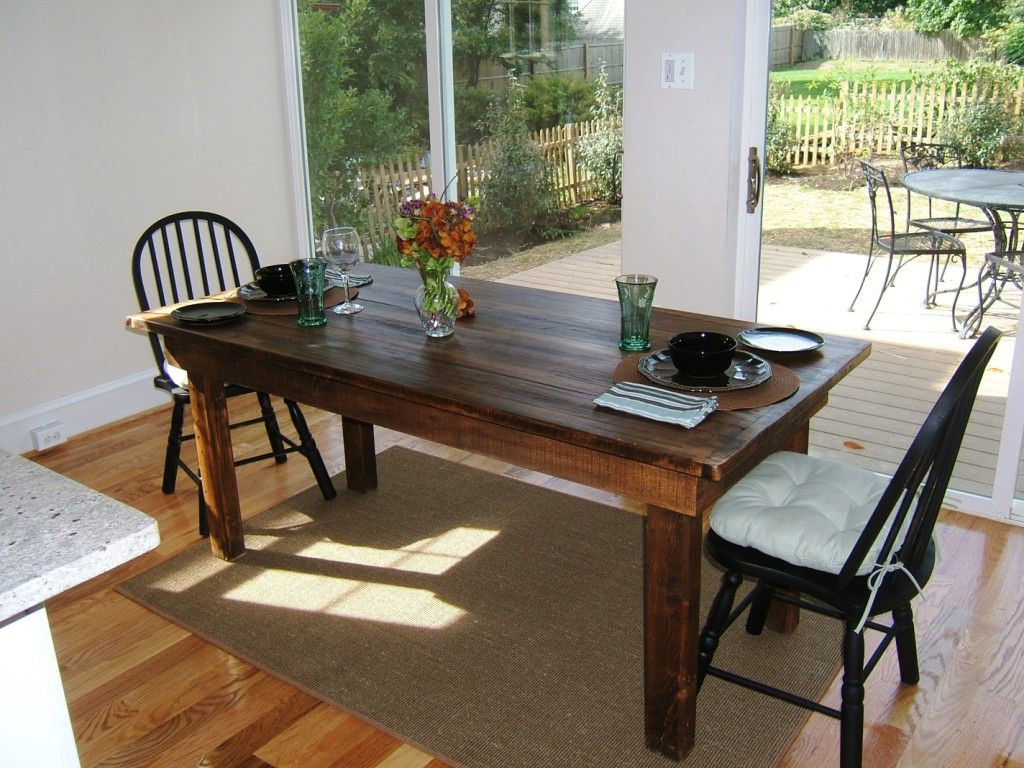 Picture of: reclaimed wood farm table and chairs