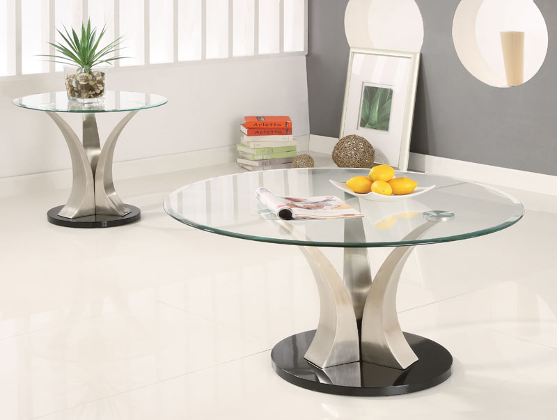 Picture of: Round Glass Coffee Table Chrome