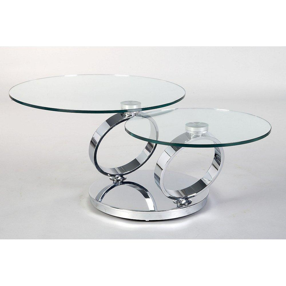 Picture of: Round Glass Coffee Table Metal Base