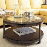 Round Glass Coffee Table Wood Base