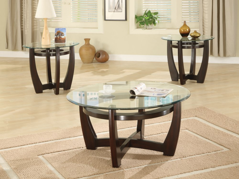 Picture of: Round Glass Coffee Table Wood