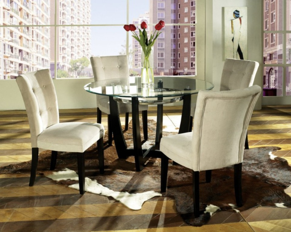 Image of: Round Table Dining Room Set Black