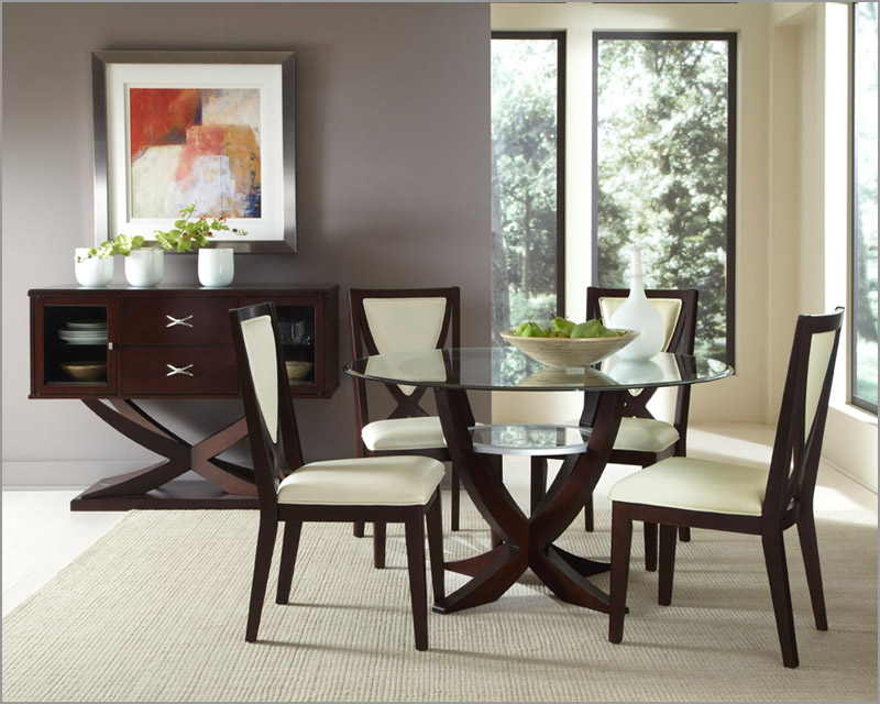 Picture of: Rustic glass dining room table sets