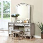 Silver Makeup Vanity Table With Lighted Mirror