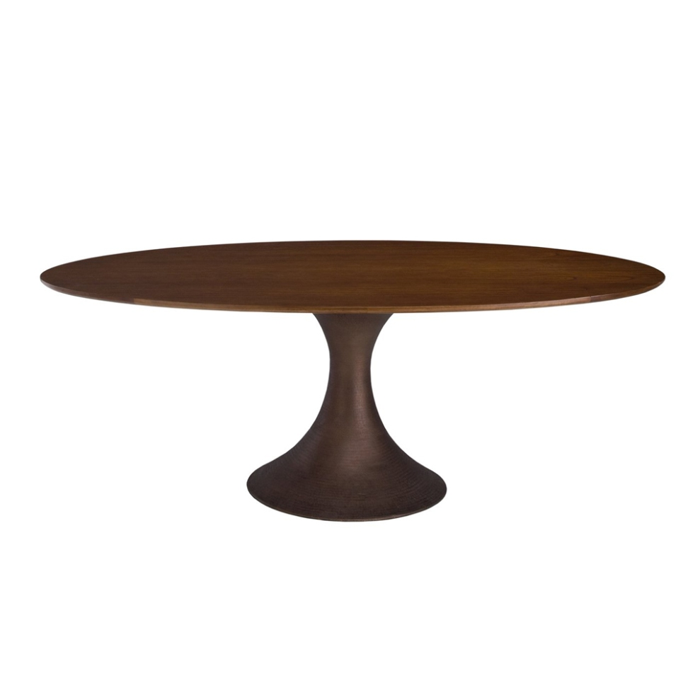Picture of: Solid Wood Oval Pedestal Dining Table