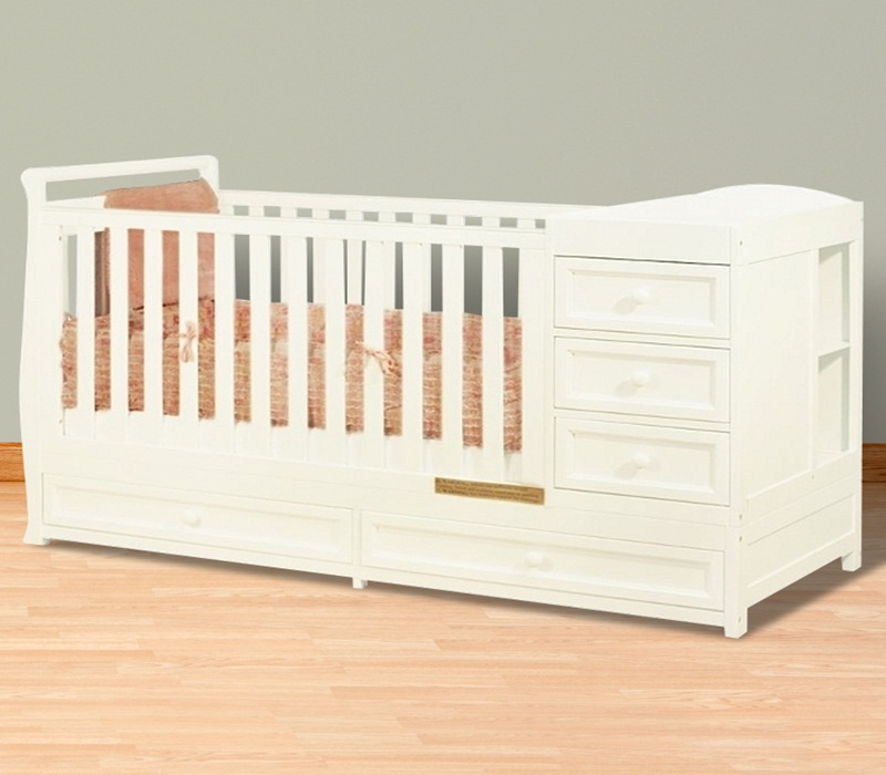 Image of: White Cribs With Changing Table Combo