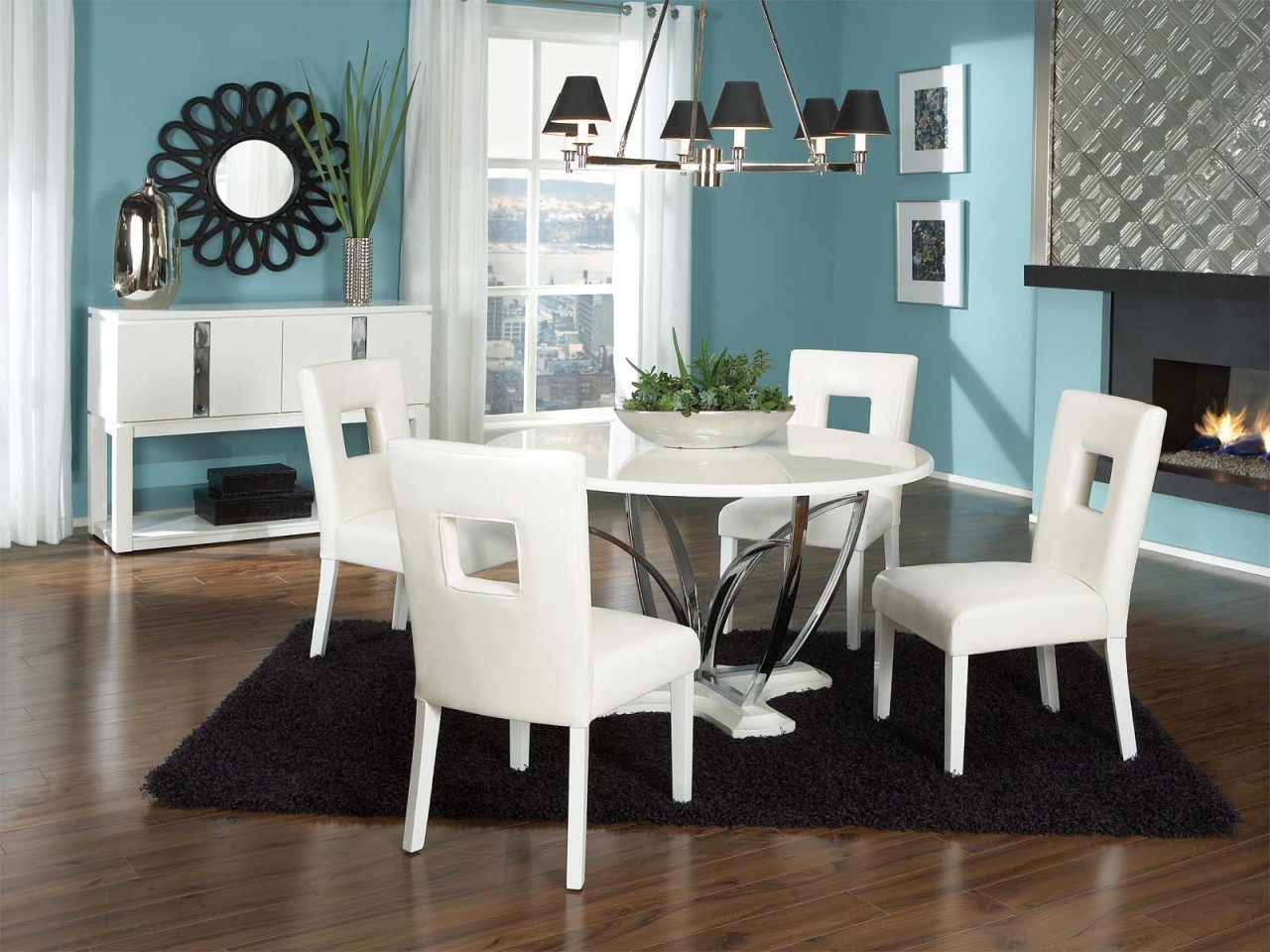 Image of: White Pedestal Dining Table Pictures