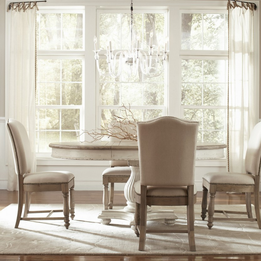 Image of: White Pedestal Dining Table Set
